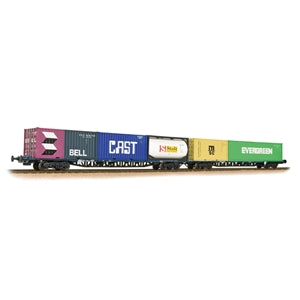 BACHMANN 38-627 FGA FREIGHTLINER WAGONS X2 BR BLUE WITH MARITIME CONTAINERS