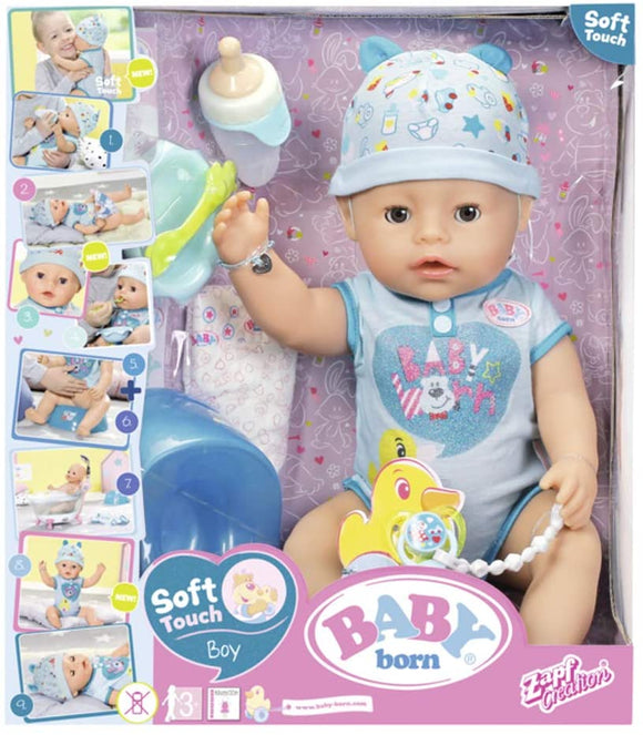 BABY BORN 824375 SOFT TOUCH-BOY INTERACTIVE FUNCTION DOLL, 43cm