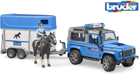 BRUDER 2588 Land Rover Defender Police Car with Horse Box Horse and Policeman