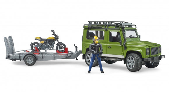 BRUDER 2589 Land Rover Defender with Motorbike Trailer