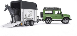 BRUDER 2592 Land Rover Defender with Horse Box Trailer and Horse