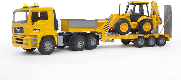 BRUDER 2776 Man TGA Flatbed Loader Lorry with JCB Backhoe Loader