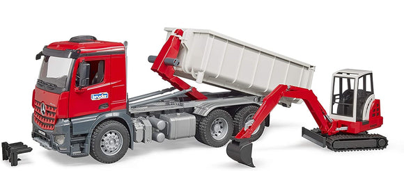 BRUDER 3624 Mercedes Benz Arocs Roll off Tipper with Mini Digger