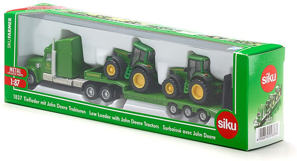 SIKU 1837 JOHN DEERE LOW LOADER WITH JOHN DEERE TRACTORS 1:87 SCALE