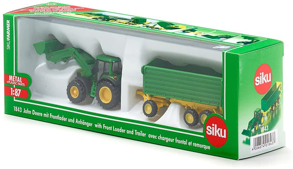 SIKU 1843 JOHN DEERE WITH FRONT LOADER AND TRAILER 1:87 SCALE