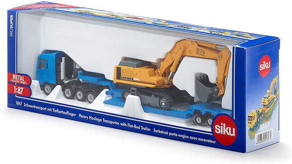SIKU 1847 HEAVY HAULAGE TRANSPORTER WITH FLAT-BED TRAILER 1:87 SCALE