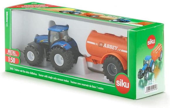SIKU 1945 NEW HOLLAND TRACTOR WITH SINGLE AXLE VACUUM TANKER 1:50 SCALE