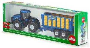 SIKU 1947 NEW HOLLAND TRACTOR WITH SILAGE TRAILER 1:50 SCALE