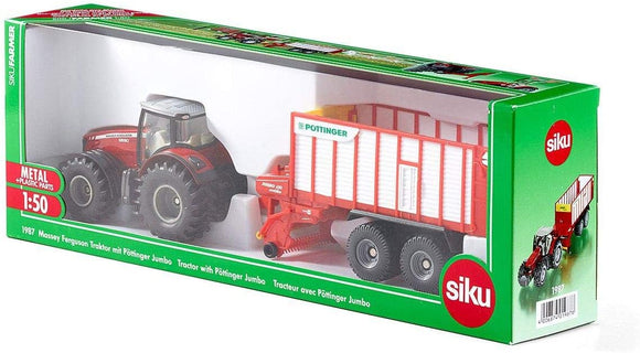 SIKU 1987 MASSEY FERGUSON TRACTOR WITH POTTINGER JUMBO 1:50 SCALE