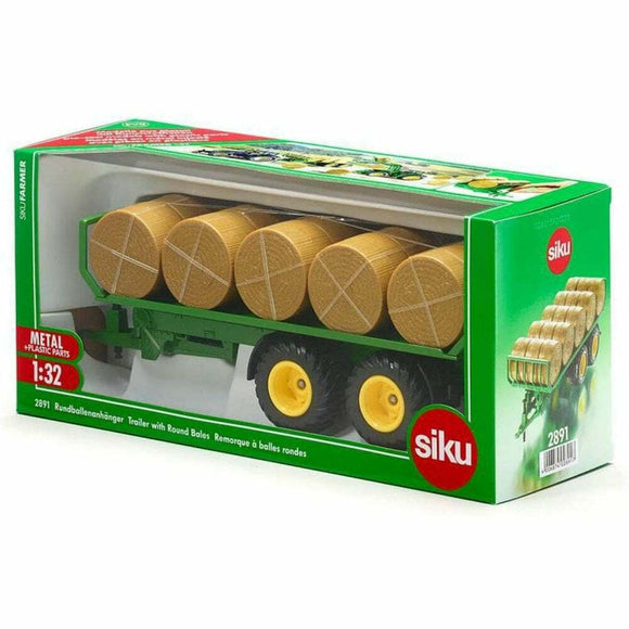 SIKU 2891 TRAILER WITH ROUND BALES 1:32 SCALE