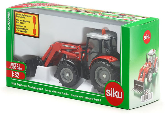 SIKU 3653 MASSEY FERGUSON WITH FRONT LOADER FORK 1:32 SCALE