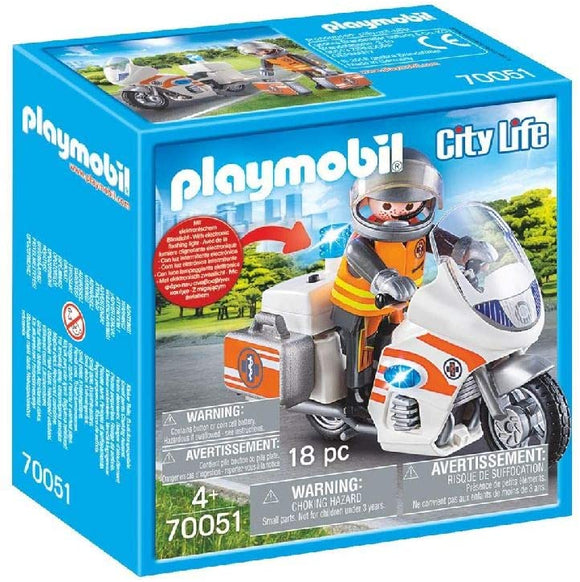 PLAYMOBIL 70051 CITY LIFE HOSPITAL EMERGENCY MOTORBIKE WITH FLASHING LIGHT