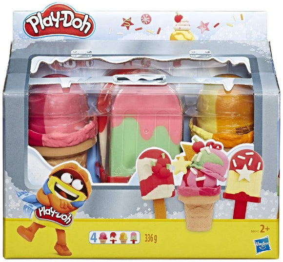 PLAYDOH E6642 ICE POPS AND CONES FREZZER THEMED 4 PACK