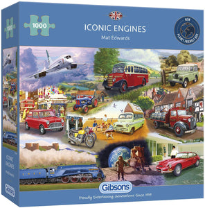 GIBSONS G6293 1000PCE JIGSAW ICONIC ENGINES MAT EDWARDS