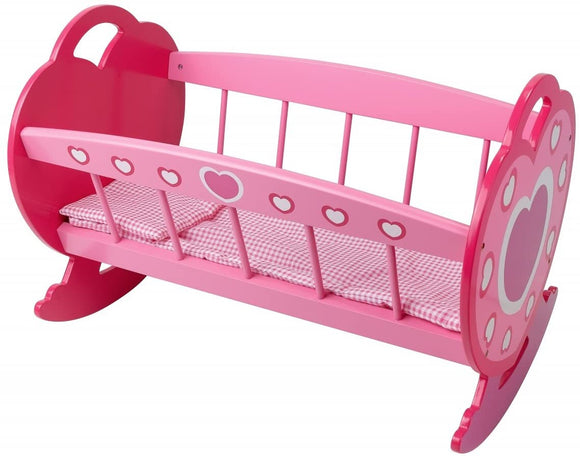 DOLLS WORLD 8611 WOODEN ROCKING CRADLE