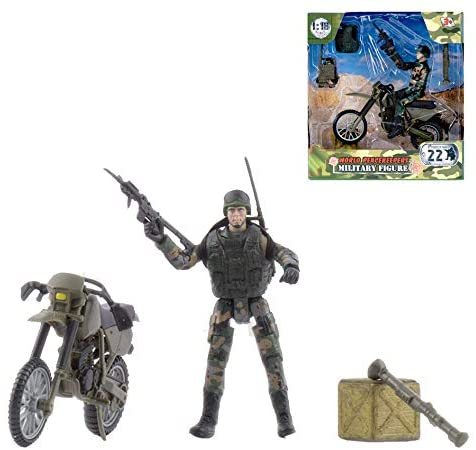 WORLD PEACEKEEPERS 72420 MILITARY FIGURE WITH MOTORBIKE