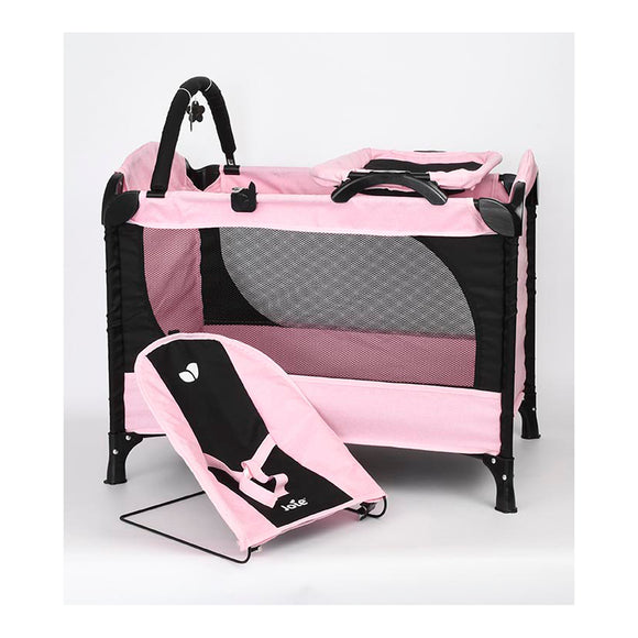 JOIE JUNIOR EXCURSION DOLLS TRAVEL COT AND BOUNCER WITH LULLABY SOUNDS