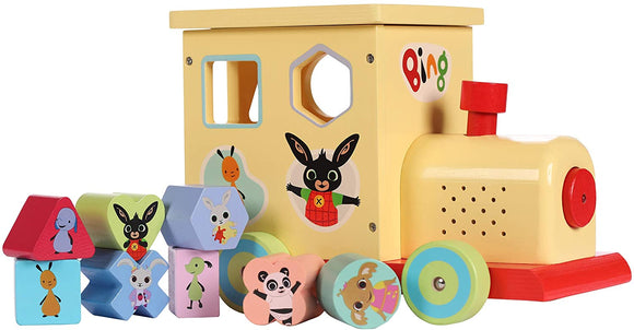 8TH WONDER 1069 BING THE BUNNY SHAPE SORTER TRAIN WITH SOUND WOODEN TOY