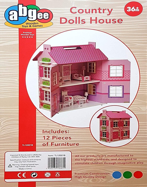 TOYMASTER TL12001B WOODEN COUNTRY DOLLS HOUSE