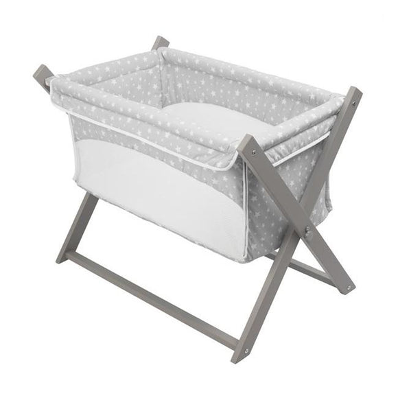 Clair de lune grey stars folding crib