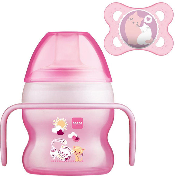 MAM Starter Cup 4m+ with Handles and Soother- Pink