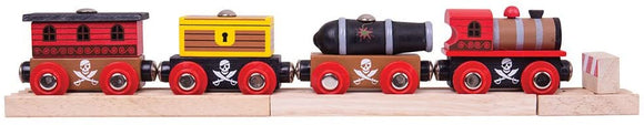 BIGJIGS RAIL BJT473 PIRATE TRAIN WITH CARRIAGES