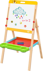 TOYMASTER WOODEN STANDING MAGNETIC EASEL WITH CHALKBOARD & WHITEBOARD