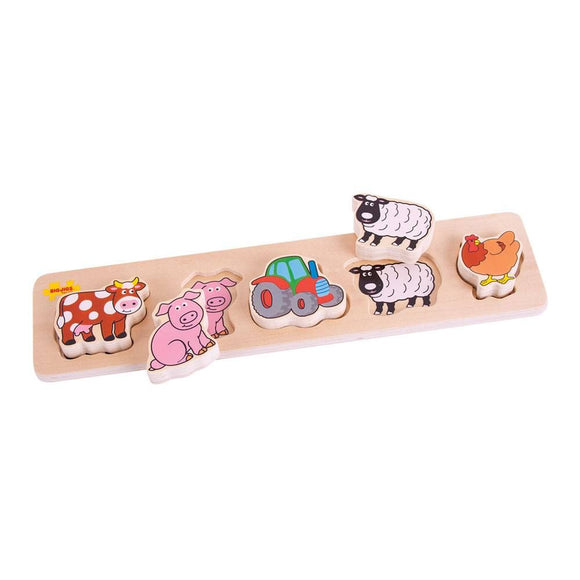 BIGJIGS BB014 WOODEN LIFT AND MATCH PUZZLE FARM