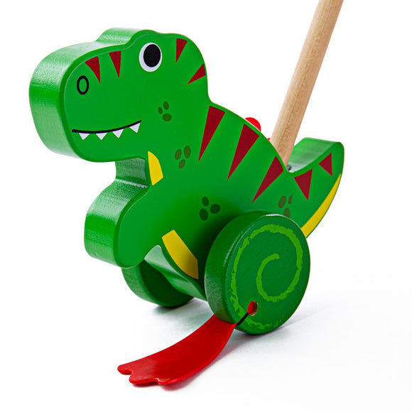 BIGJIGS BB139 WOODEN PUSH ALONG TREX DINOSAUR ON A STICK