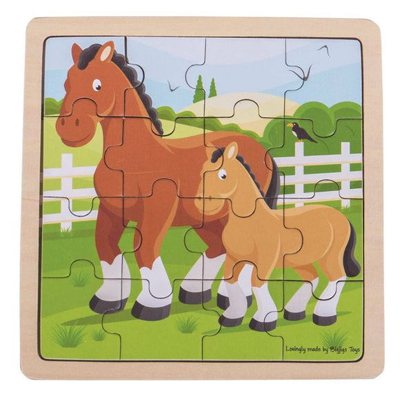 BIGJIGS BJ492 WOODEN HORSE AN FOAL PUZZLE