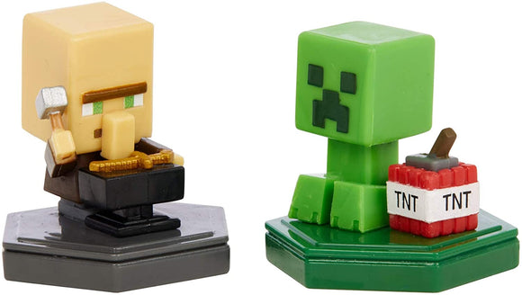 MINECRAFT GMD15 REPAIRING VILLAGER AND MINING CREEPER BOOST MINI FIGURES