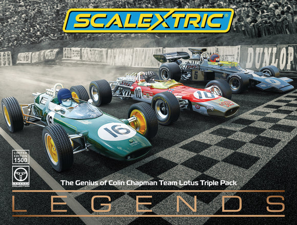 SCALEXTRIC CAR C4184A THE GENIUS OF COLIN CHAPMAN TEAM LOTUS TRIPLE PACK