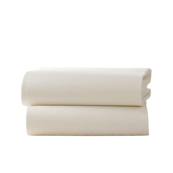 Clair de Lune 2 pack 120x170cm flat cot bed sheets- cream