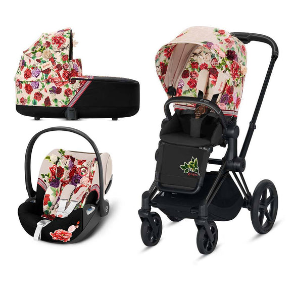 Cybex Priam stroller,carrycot & Cloud Z Car Seat Spring Blossom Light on rose gold chassis