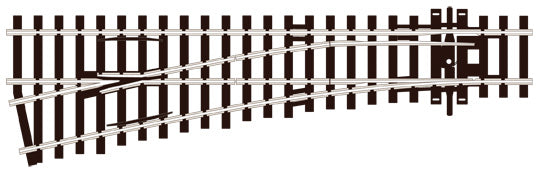 PECO SL-E92 SMALL RADIUS L/H OO GAUGE STREAMLINE TRACK CODE 100 INSULFROG POINTS TURNOUTS RIGID UNIT NICKEL SILVER TRACK WOODEN SLEEPERS