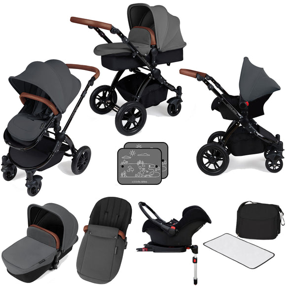 Ickle Bubba V3 All In One Travel System with isofix base in Graphite on Black Chassis