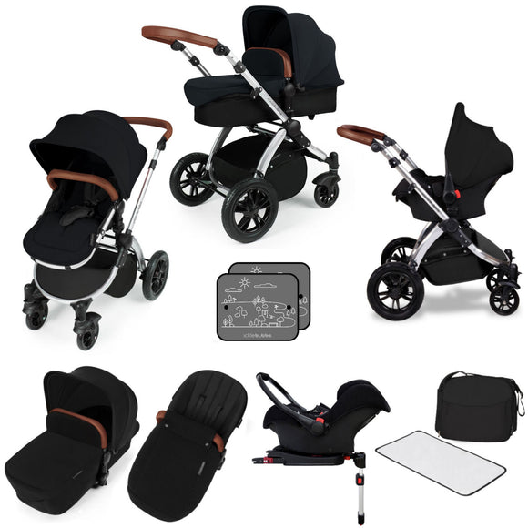 Ickle Bubba V3 All In One Travel System with isofix base in Black on Silver Chassis