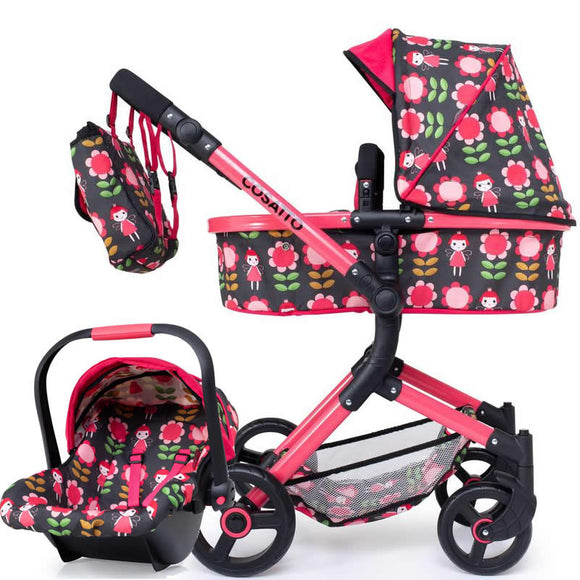 COSATTO WONDER DOLLS PRAM AND CAR SEAT IN FAIRY LAND