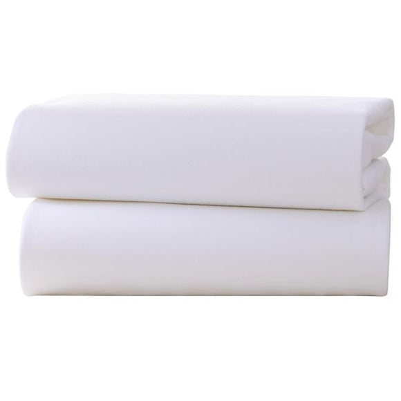 Clair de Lune 2 pack 120x170cm flat cot bed sheets- white