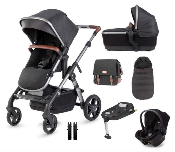 Silver Cross Wave Travel System Simplicity Plus Simplifix base in Charcoal