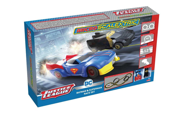 MICRO SCALEXTRIC SET G1143M JUSTICE LEAGUE BATMAN AND SUPERMAN RACE SET