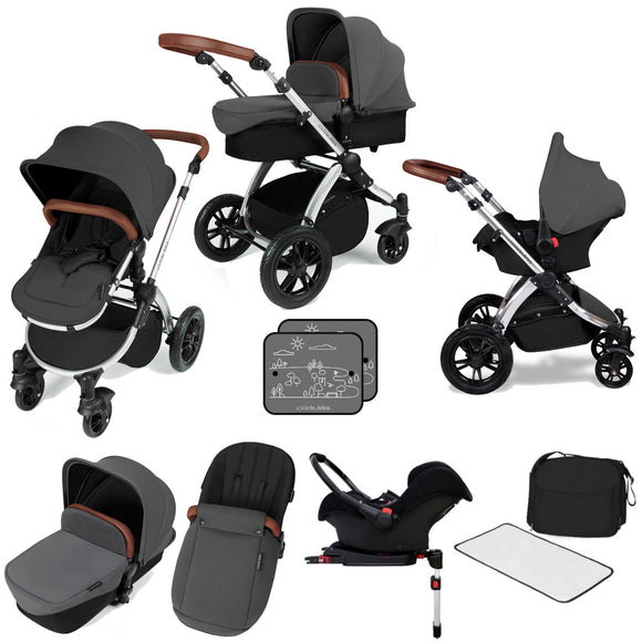 Ickle Bubba V3 All In One Travel System with isofix base in Graphite on Silver Chassis