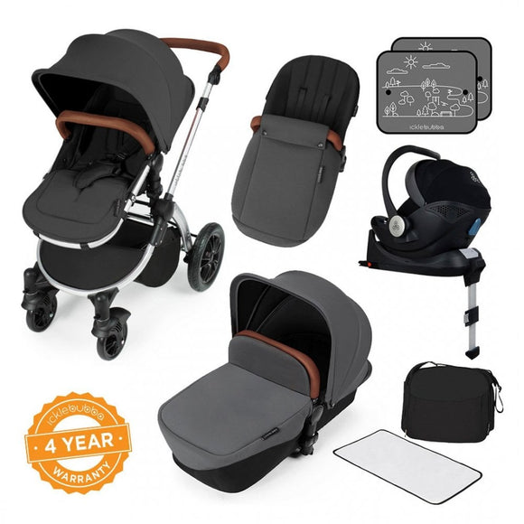 Ickle Bubba V3 All In One Mercury Isize Travel System in Graphite on Silver Chassis