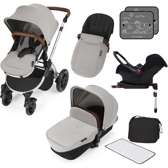 Ickle Bubba V3 All In One Travel System with isofix base in Silver on Silver Chassis