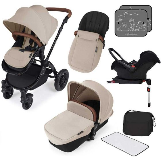 Ickle Bubba V3 All In One Travel System with isofix base in Sand on Black Chassis