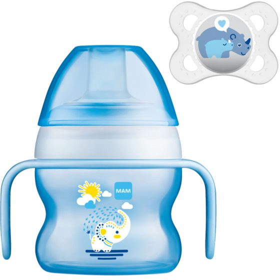 MAM Starter Cup 4m+ with Handles and Soother- Blue