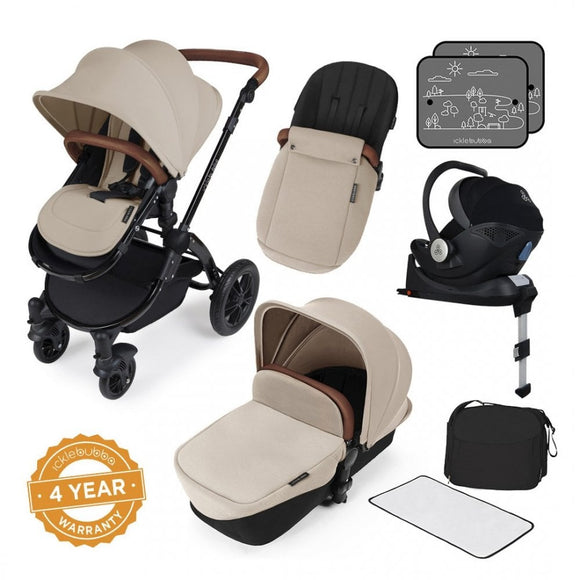 Ickle Bubba V3 All In One Mercury Isize Travel System in Sand on Black Chassis