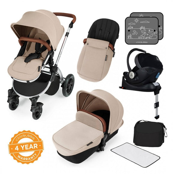 Ickle Bubba V3 All In One Mercury Isize Travel System in Sand on Silver Chassis