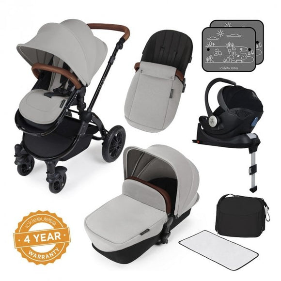 Ickle Bubba V3 All In One Mercury Isize Travel System in Silver on Black Chassis
