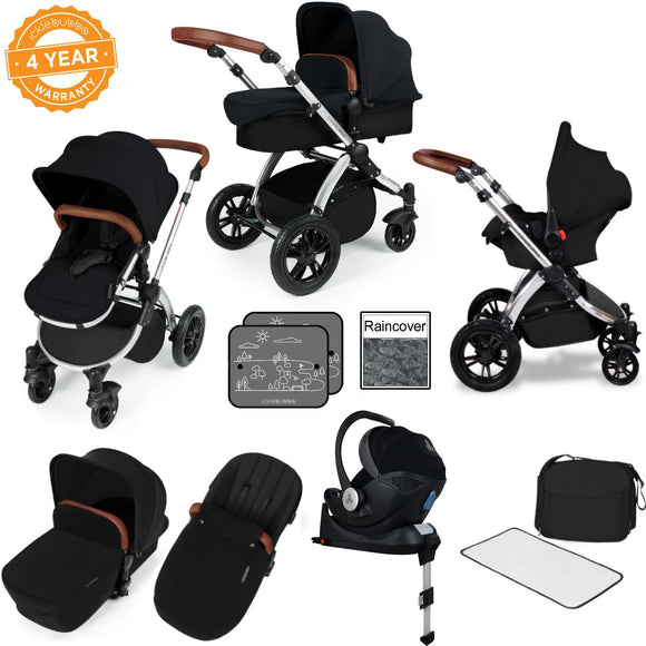 Ickle Bubba V3 All In One Mercury Isize Travel System in Black on Silver Chassis